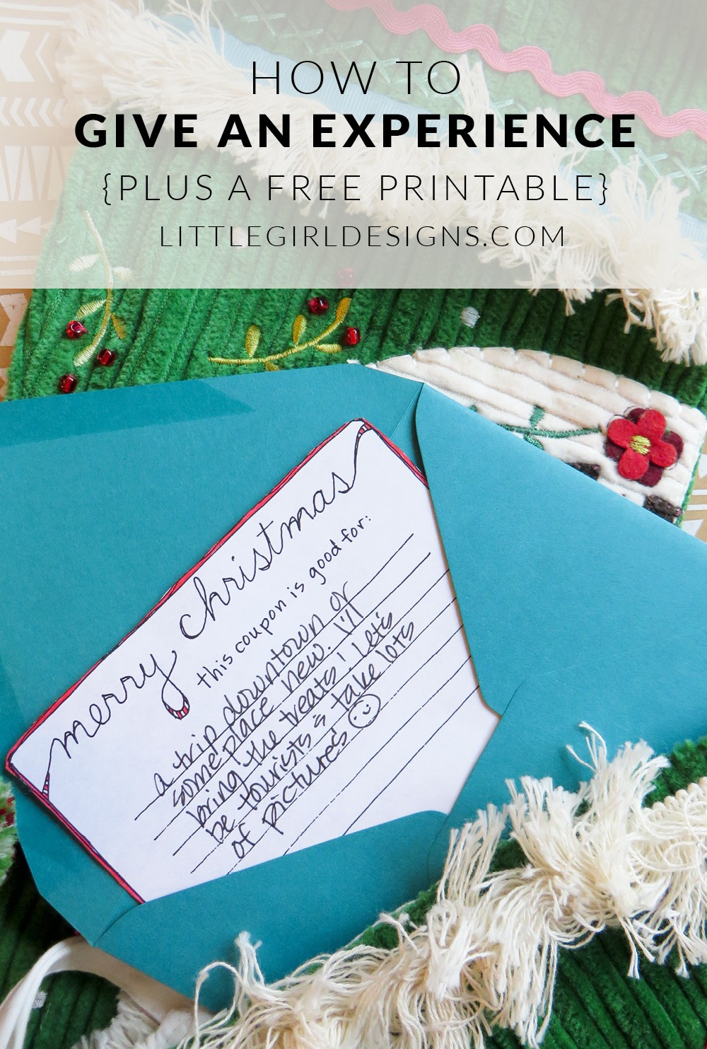 Give an Experience - Have someone on your Christmas list who is difficult to buy for and who already has everything? Give an experience! Here are four ideas of what you could do plus a free printable! @ littlegirldesigns.com