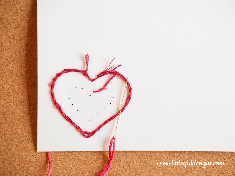 Hand-stitch a card another photo of stitching a heart