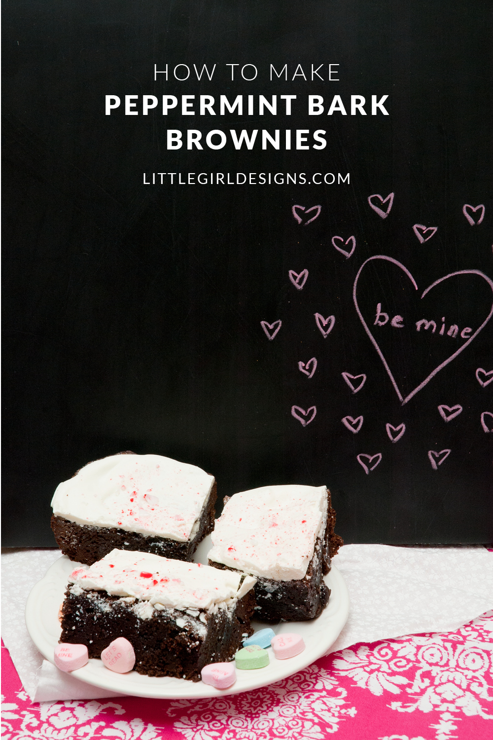 Peppermint Bark Brownies - Little Girl Designs