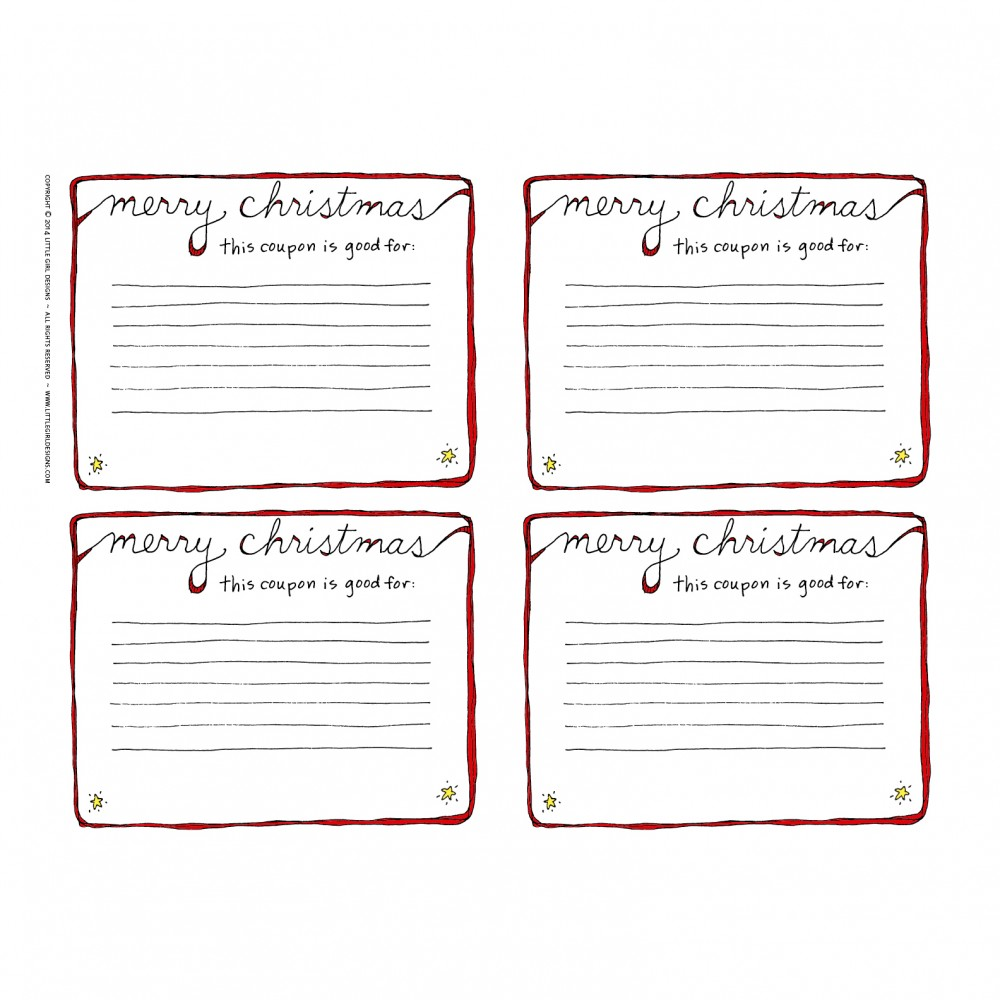 things i love about you printable set little girl designs christmas coupon