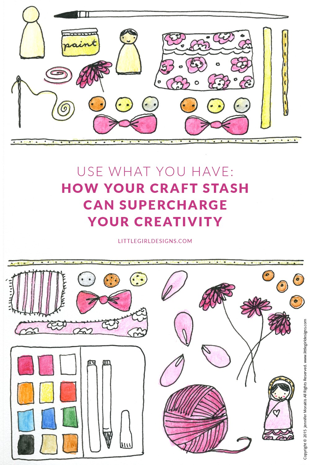 """Use What You Have: How Your Craft Stash Can Supercharge Your Creativity - You look at your craft drawers and sigh, """"What a mess!"""" or walk into your gorgeous craft room and sigh contentedly. Whatever the case, what you might not realize is you are looking at the source to some serious creativity! This is the second in a series about using what you have @littlegirldesigns.com"""