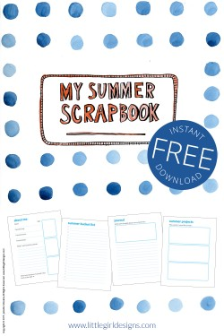 Summer Scrapbook - a FREE printable that you can use as a scrapbook this summer. Write your bucket list, journal, and doodle away. Have fun! @ littlegirldesigns.com