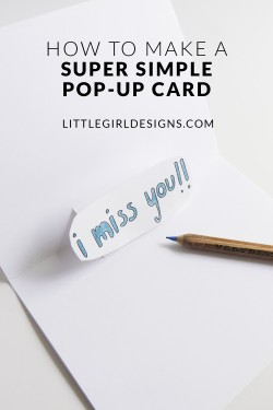 Have you ever wanted to make a pop-up card but they look too difficult? This is a great tutorial on how to make a simple pop up card that takes minimal supplies and skills. And you'll love the cute result!