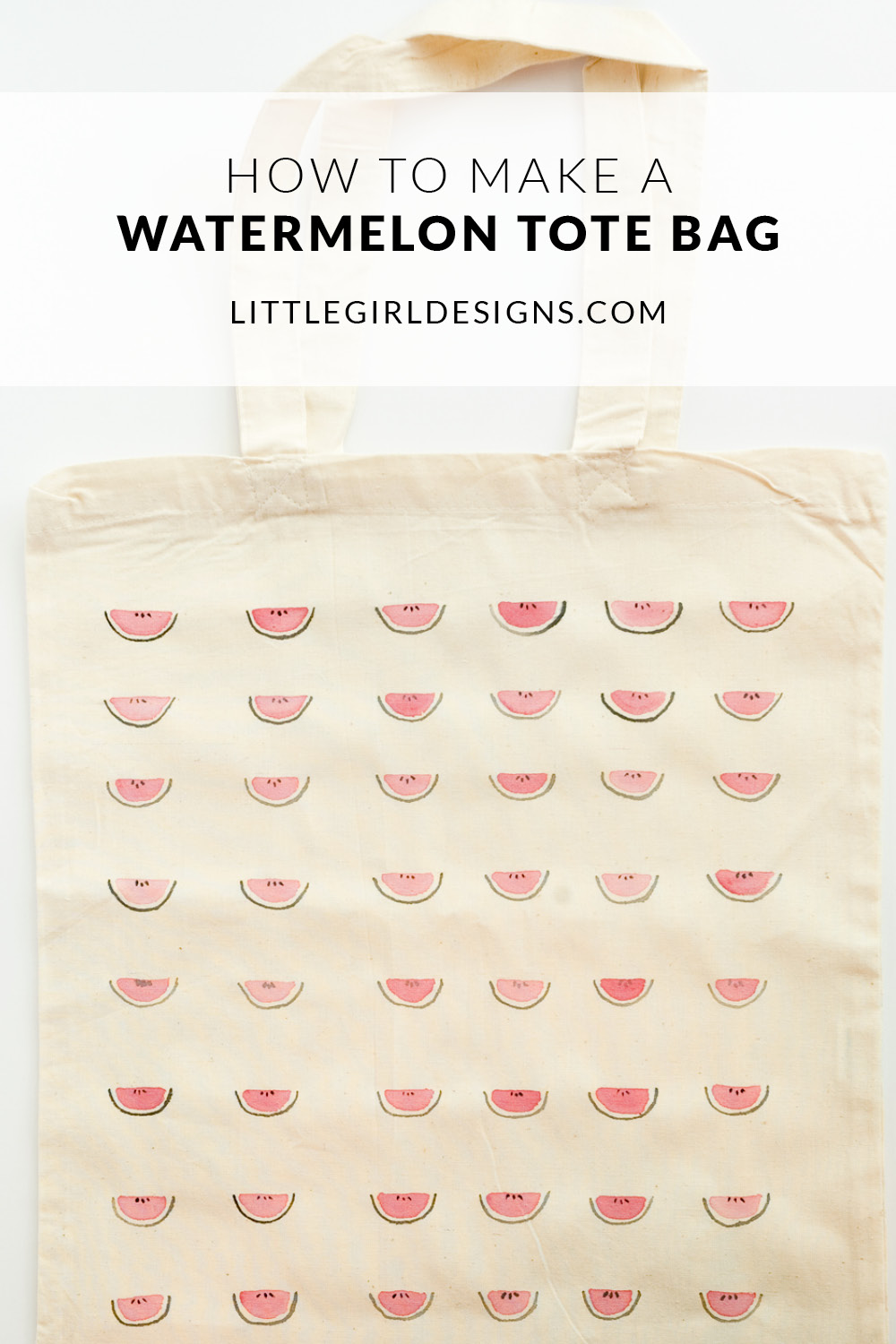 Summer's here and what better way to celebrate than to make this sweet watermelon tote bag! You can whip it up in an afternoon and use it all summer long to carry summer novels from the library and delicious produce from the farmer's market. :)