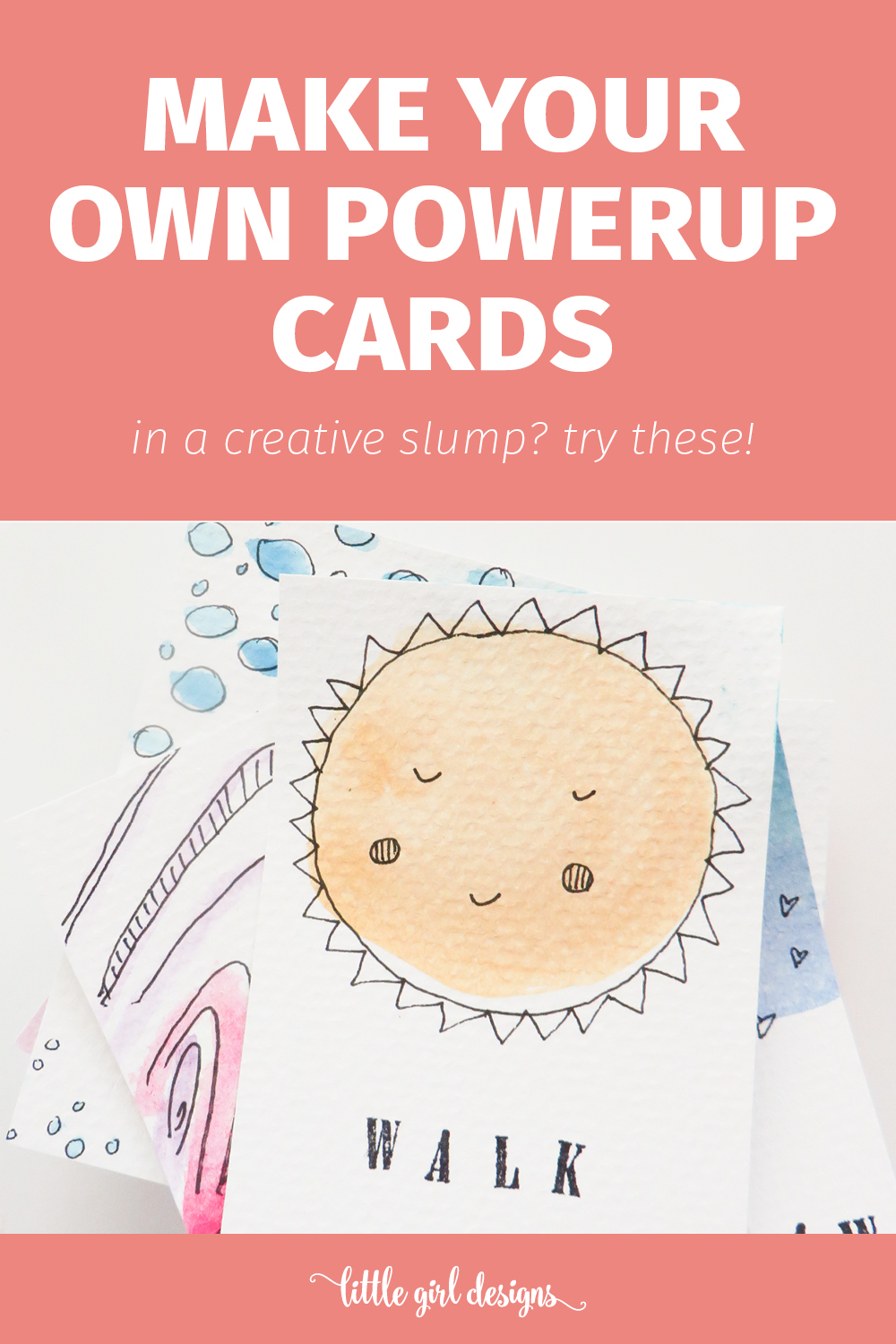 I need these in my life! This is a simple tutorial on how to make artist powerup cards—you know, just like the powerups you get when you play video games! These cards will help you get out of the creative doldrums and can be personalized to no end. Where have these been all my life?! :)