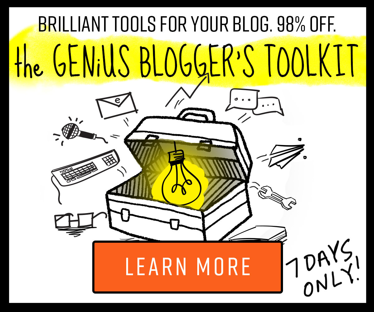 Brilliant tools for your blog. 98% off. The genius bloggers toolkit. 7 days only! Learn more