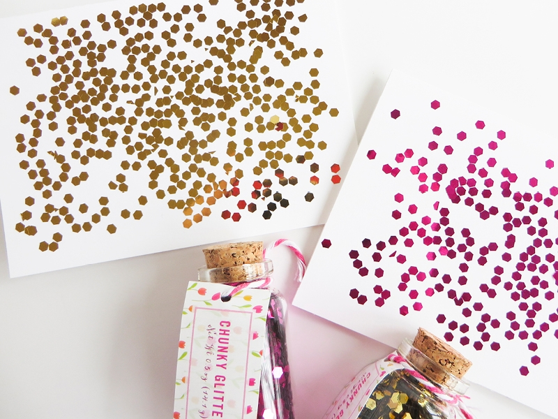 Who doesn't love playing with glitter? These cards look like colorful confetti, and they're a simple craft to make. I made this craft with my kid, and she had so much fun!