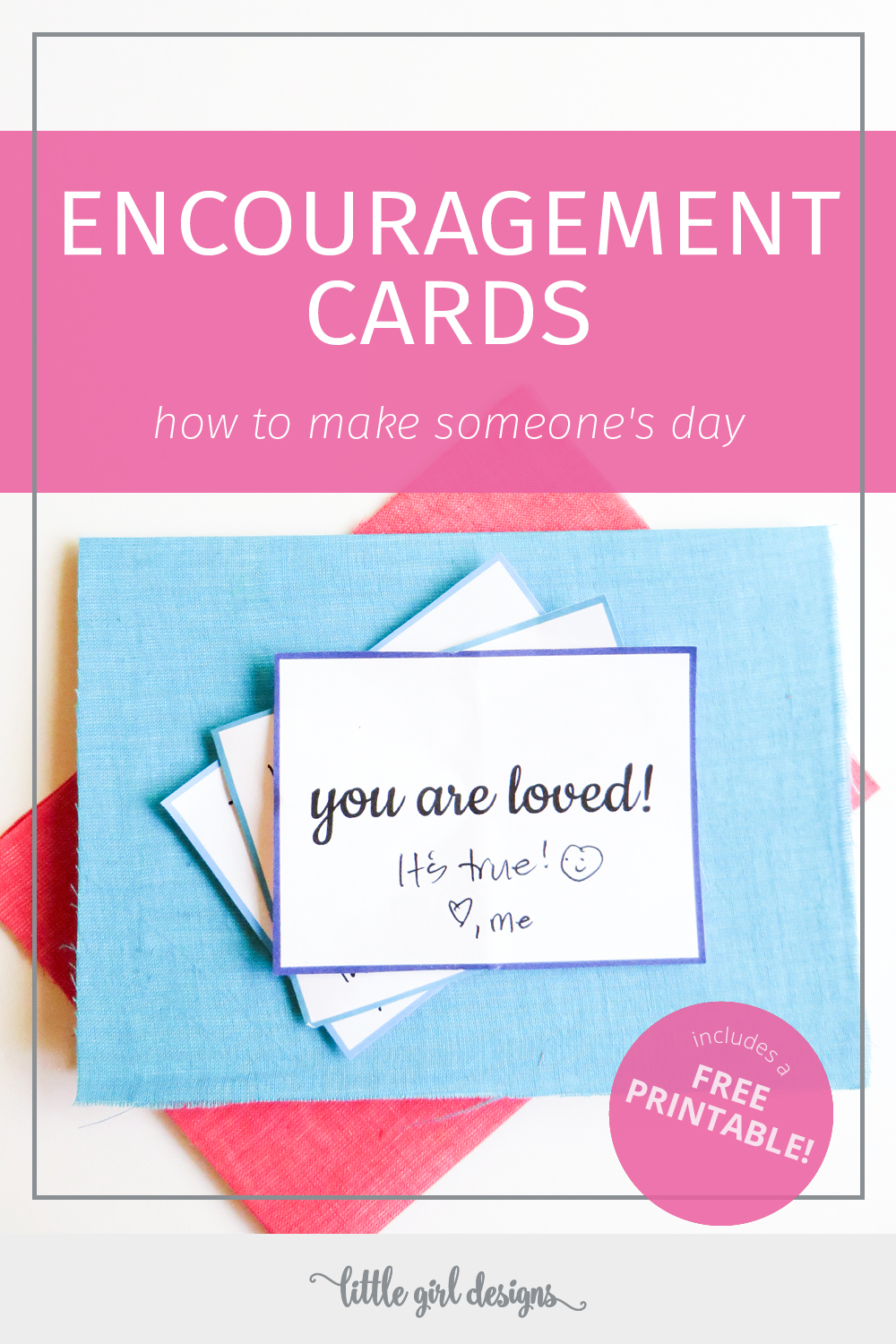 Adaptable image within printable encouragement cards