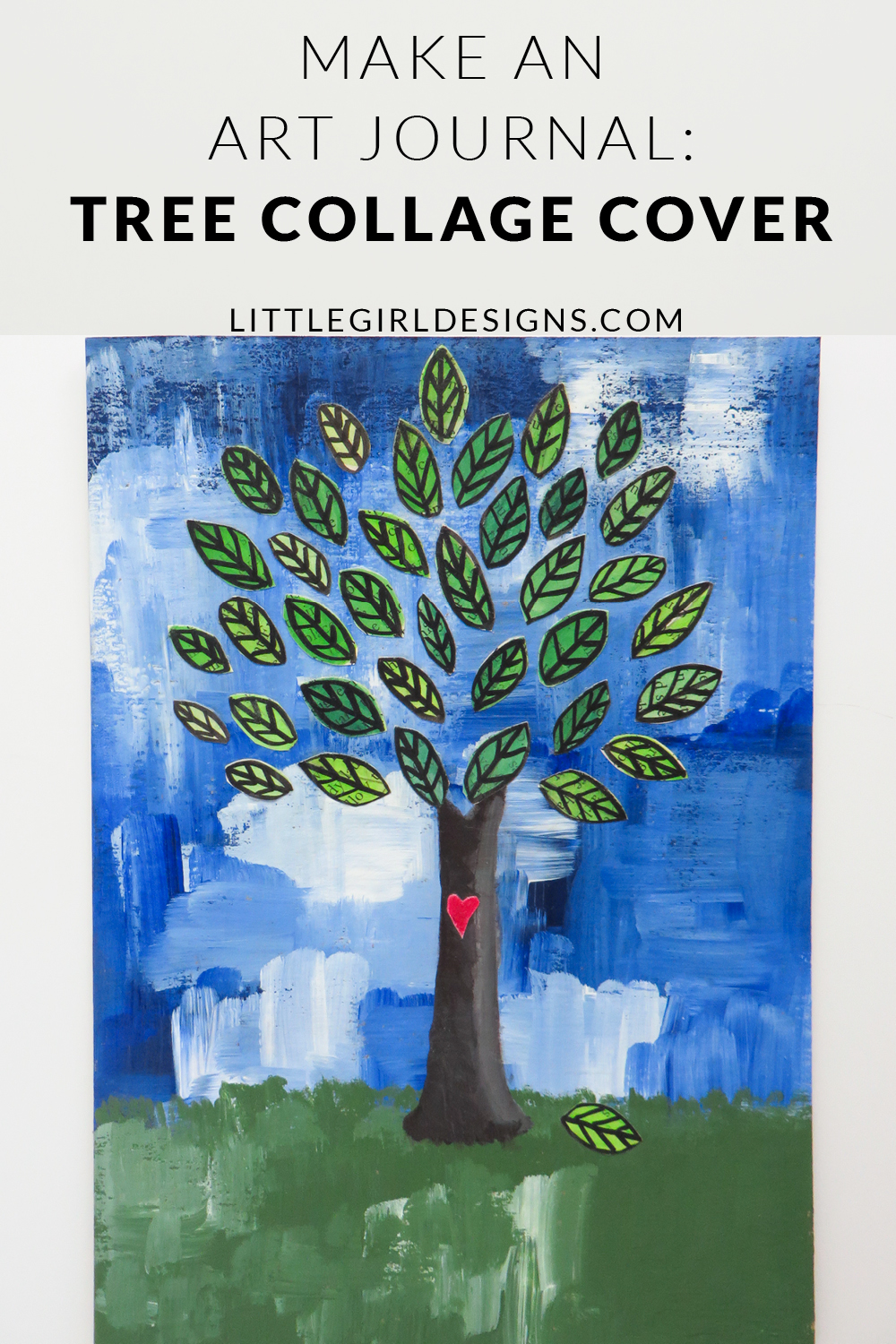 make an art journal  tree collage cover