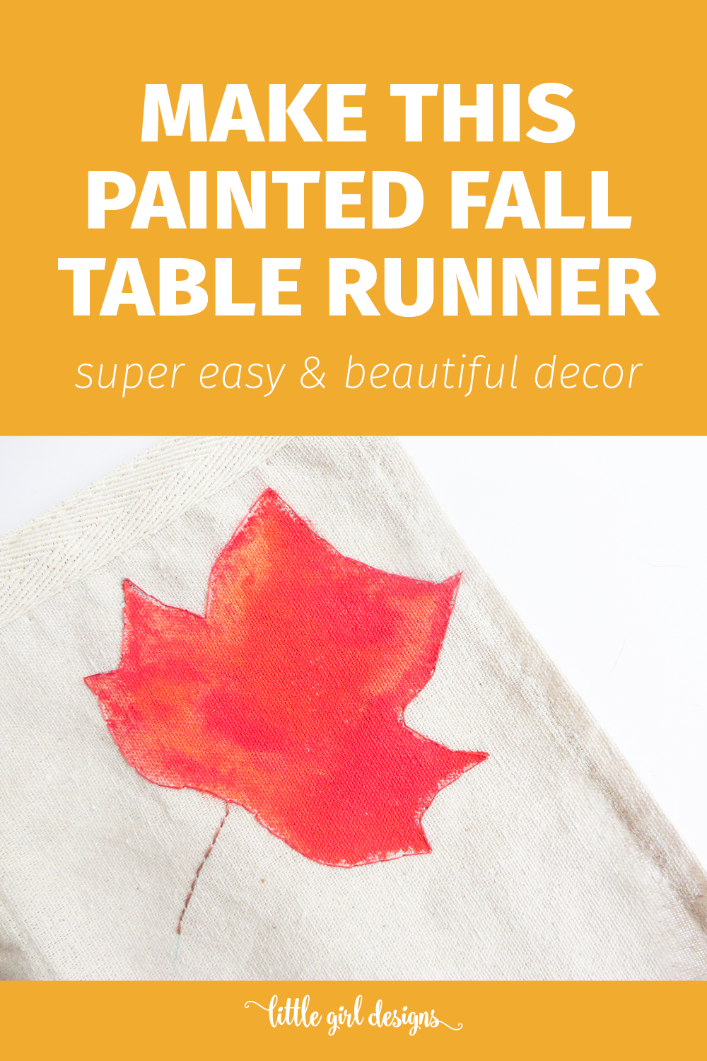Painted Fall Table Runner Little Girl Designs By Jennie